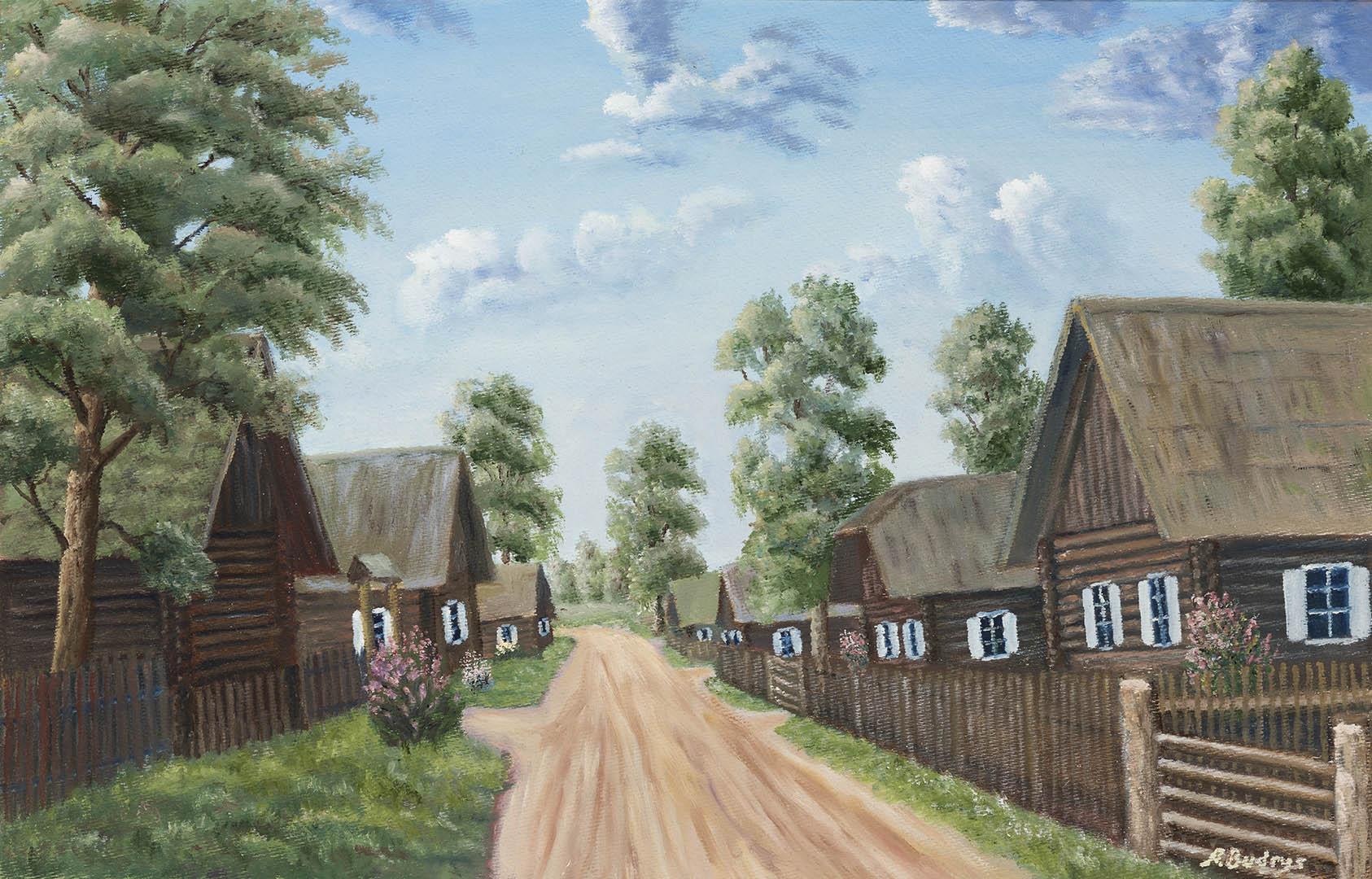 """Aloyzas Budrys. """"XIX amžiaus kaimas"""", 2019 m. Kartonas, aliejus; 39 x 60 cm"""