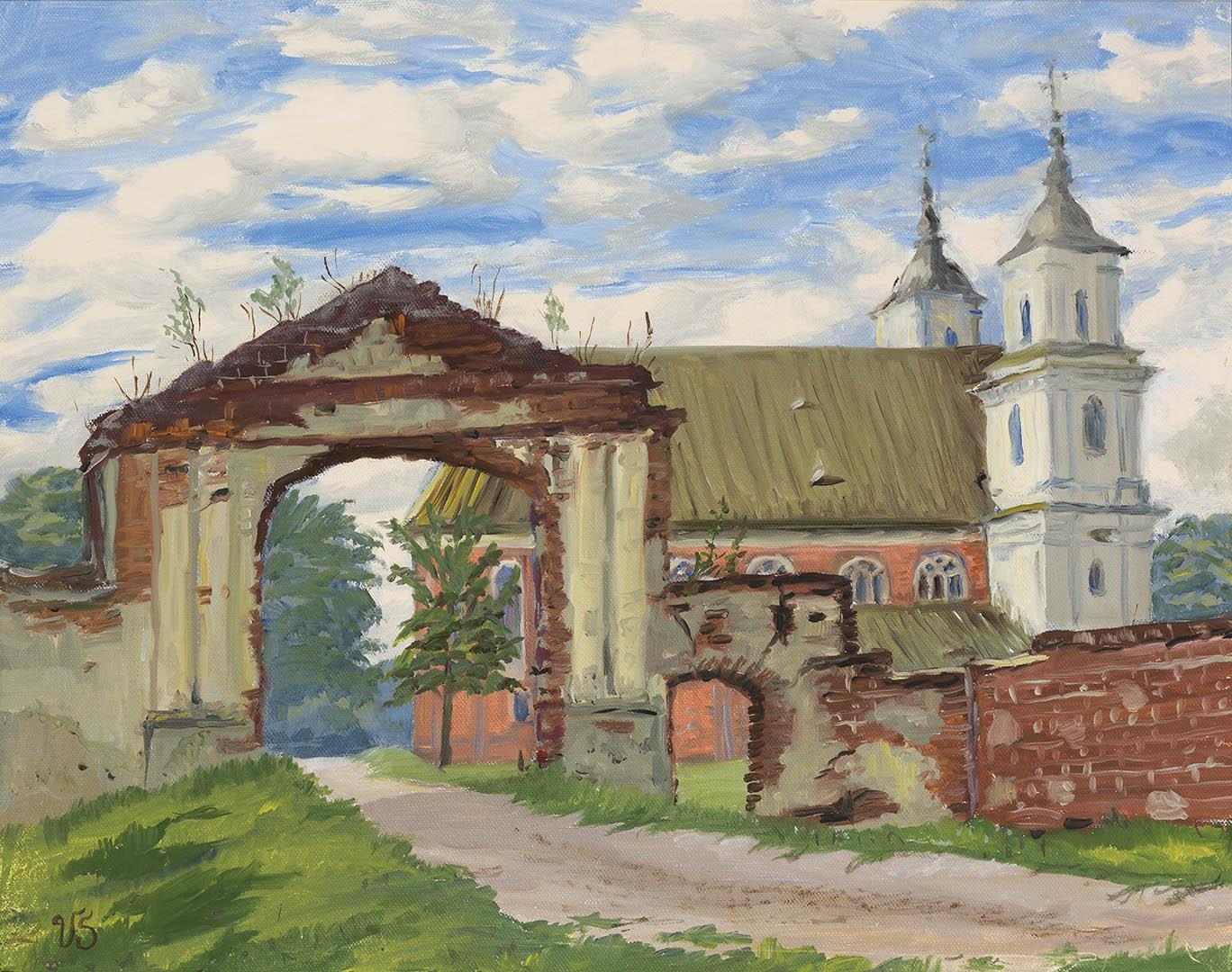"""Viktorija Jurgutienė. """"Tytuvėnų vienuolynas"""", 2018 m. Drobė, aliejus; 40,5 x 50 cm"""
