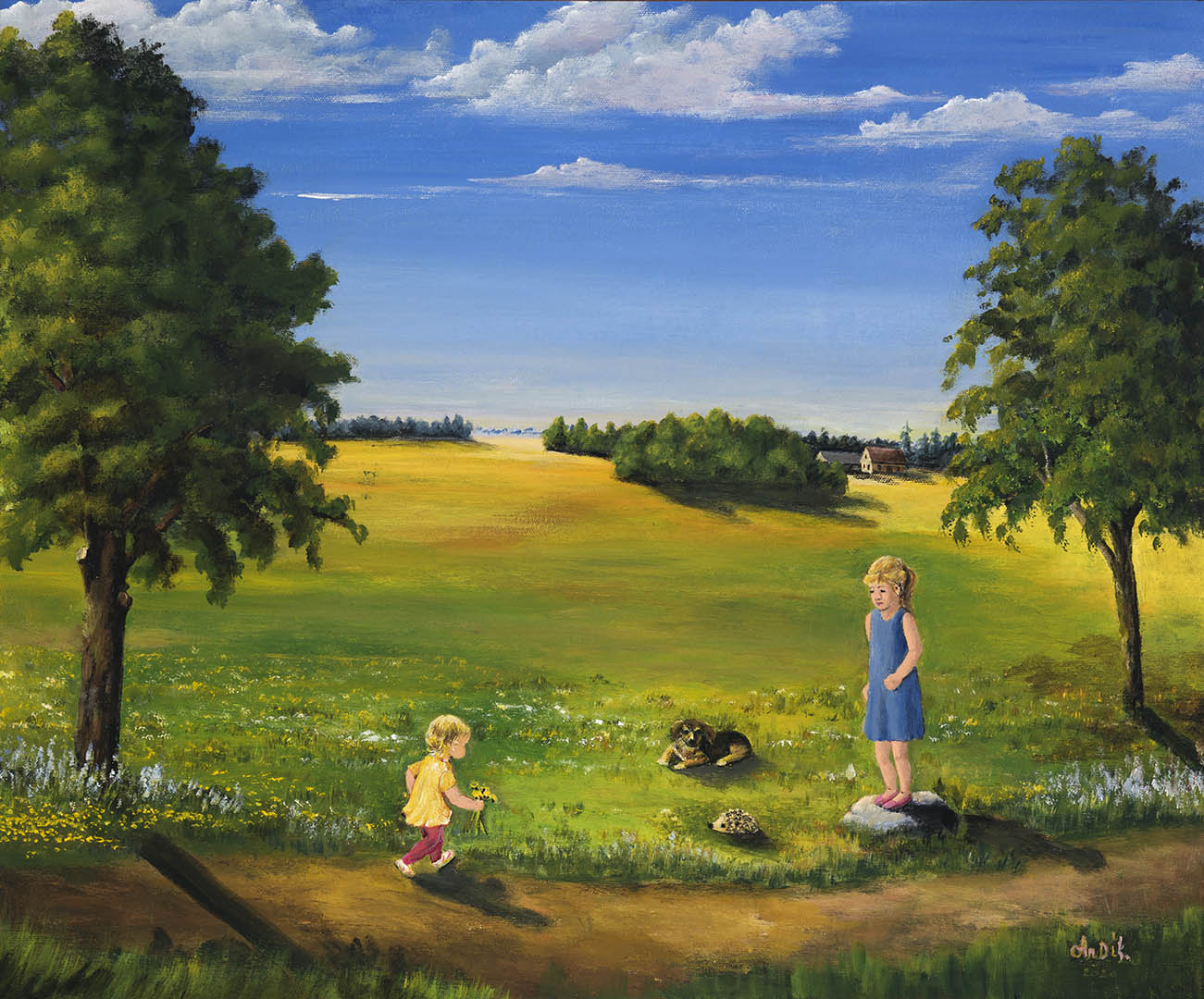 """Angelė Dikmonienė. """"Vasaros idilė"""", 2020 m. Drobė, akrilas; 50 x 60 cm"""