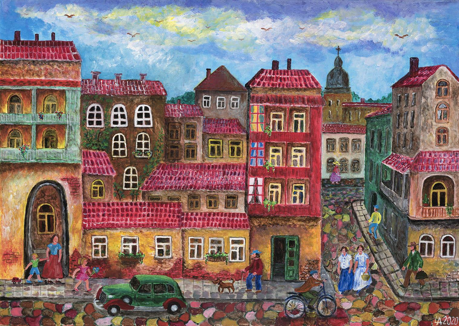 """Algimantas Lyva. """"Miestelis vasarą"""", 2020 m. Drobė, akrilas; 50 x 70 cm (Rėmėjų premija)"""