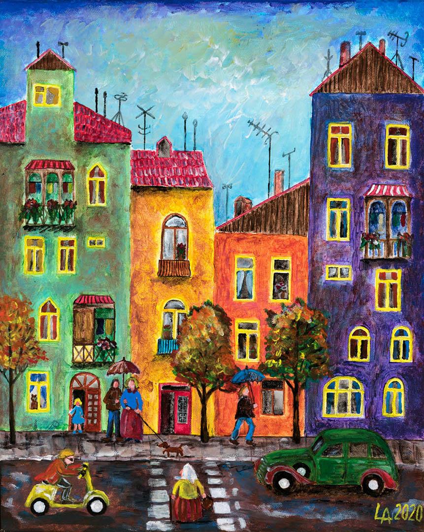 """Algimantas Lyva. """"Miestelis rudenį"""", 2020 m. Drobė, akrilas; 50 x 40 cm (Rėmėjų premija)"""