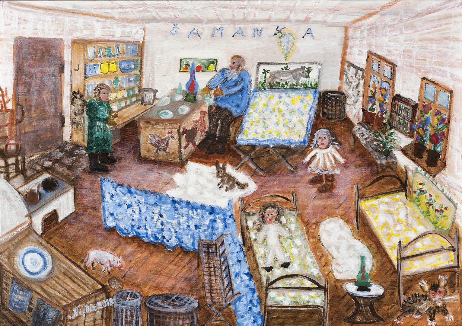 """Nijolė Dirvianskytė. """"Mano vaikystės kambarys"""", 2018 m. Drobė, aliejus; 50 x 70 cm"""
