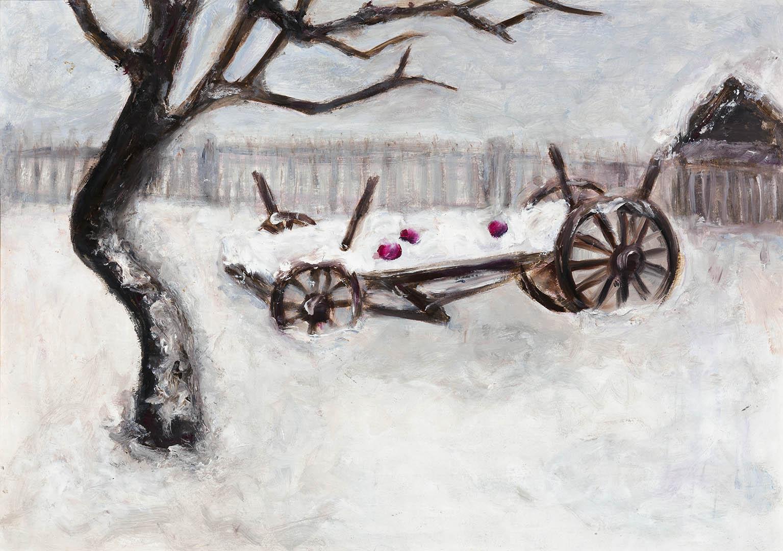 """Stasė Kanapeckienė. """"Tėvo sodas"""", 2019 m. Kartonas, aliejus; 36,5 x 51 cm"""