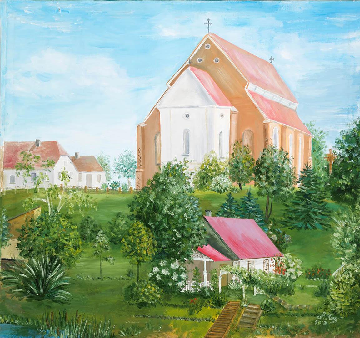 """Albina Mackevičienė. """"Švento Jurgio bažnyčia Kėdainiuose"""", 2019 m. Drobė, aliejus; 70 x 74 cm"""