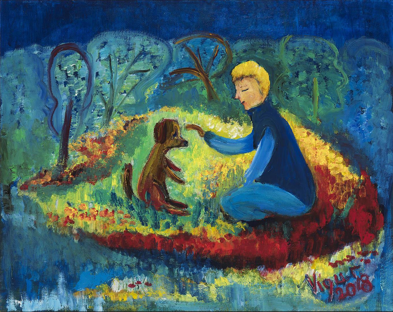 """Virginija Guršnienė. """"Draugai"""", 2018 m. Drobė, aliejus; 40 x 50 cm"""