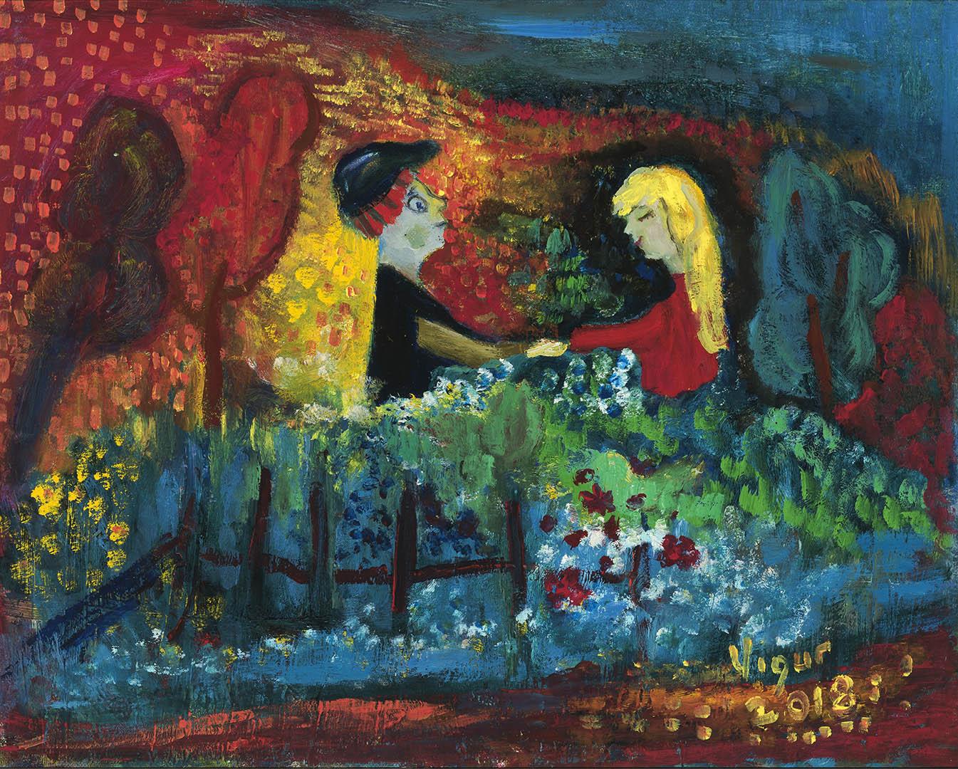 """Virginija Guršnienė. """"Jaunystė"""", 2018 m. Drobė, aliejus; 40 x 50 cm"""