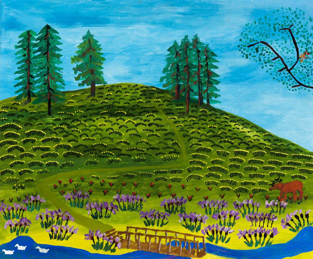 """Cirilis Kvietinskas. """"Kupiškio piliakalnis"""", 2018 m. Drobė, aliejus; 50 x 60 cm"""