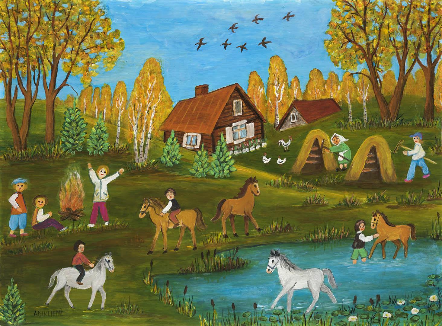 """Genovaitė Adiklienė. """"Ruduo kaime"""", 2020 m. Kartonas, aliejus; 60 x 80 cm"""