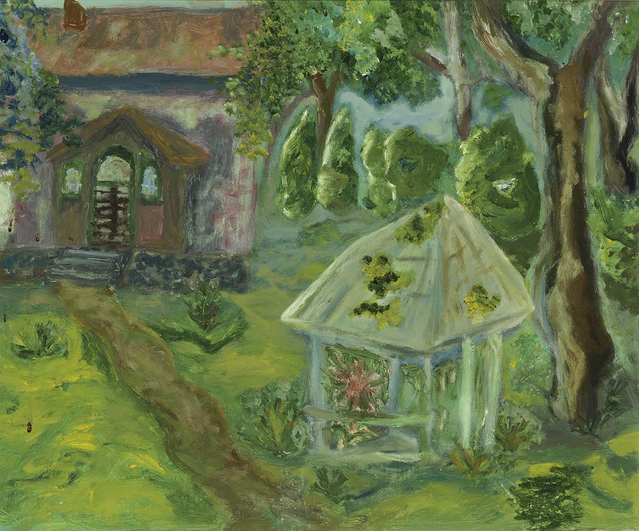 """Regina Morkūnaitė. """"Pavėsinė Rusnės parapijos namų kieme"""", 2018 m. Drobė, aliejus; 50 x 60 cm"""