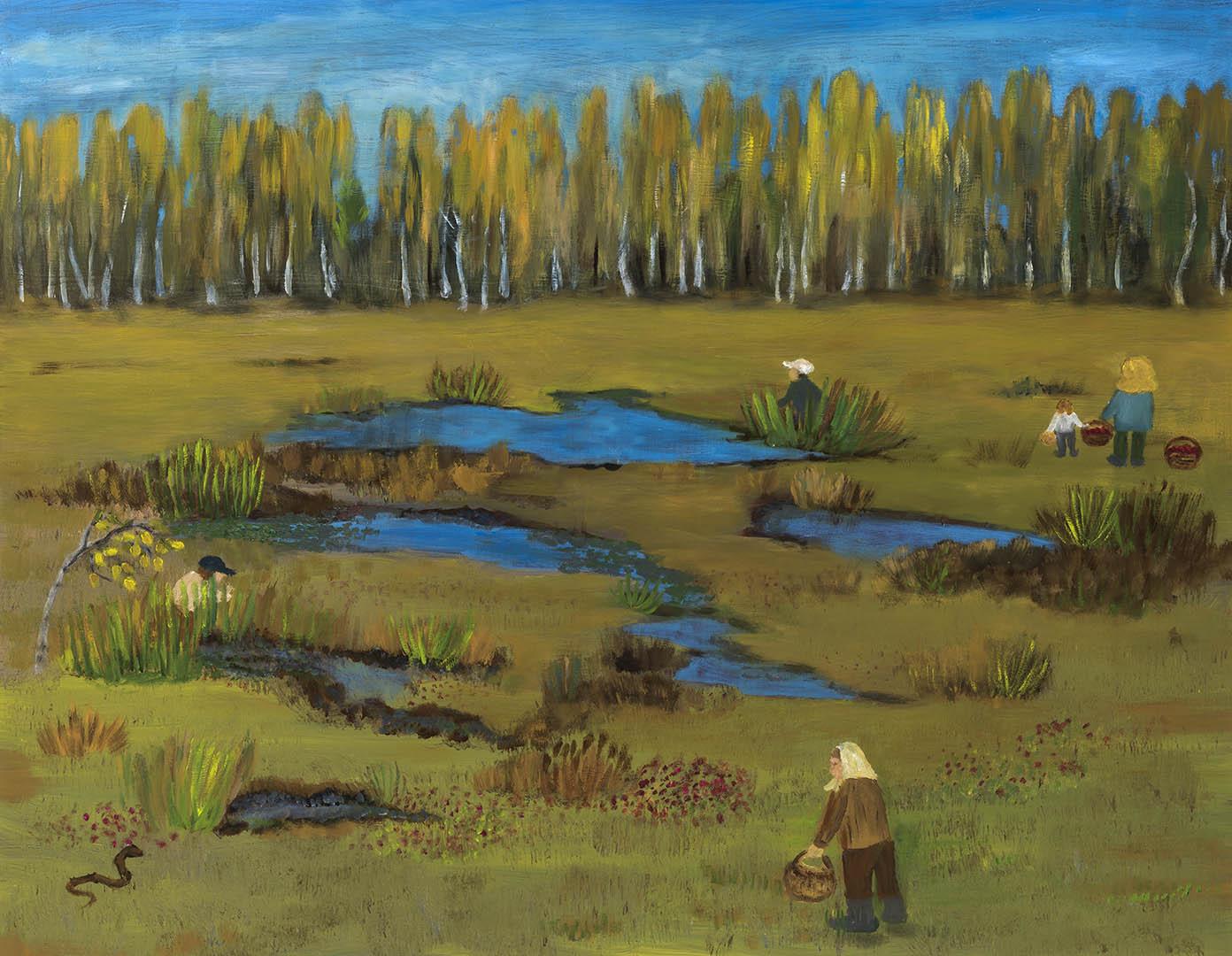 """Marijona Mieliauskienė. """"Spanguoliauja"""", 2020 m. Drobė, aliejus; 70 x 90 cm"""