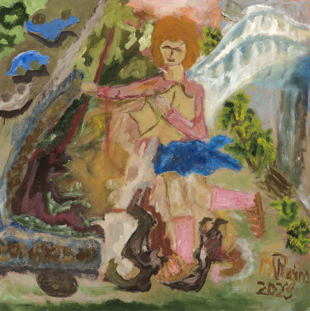 """Regina Morkūnaitė. """"Angelas Jurgis gina nuo pandemijos"""", 2020 m. Drobė, aliejus; 70 x 70 cm"""
