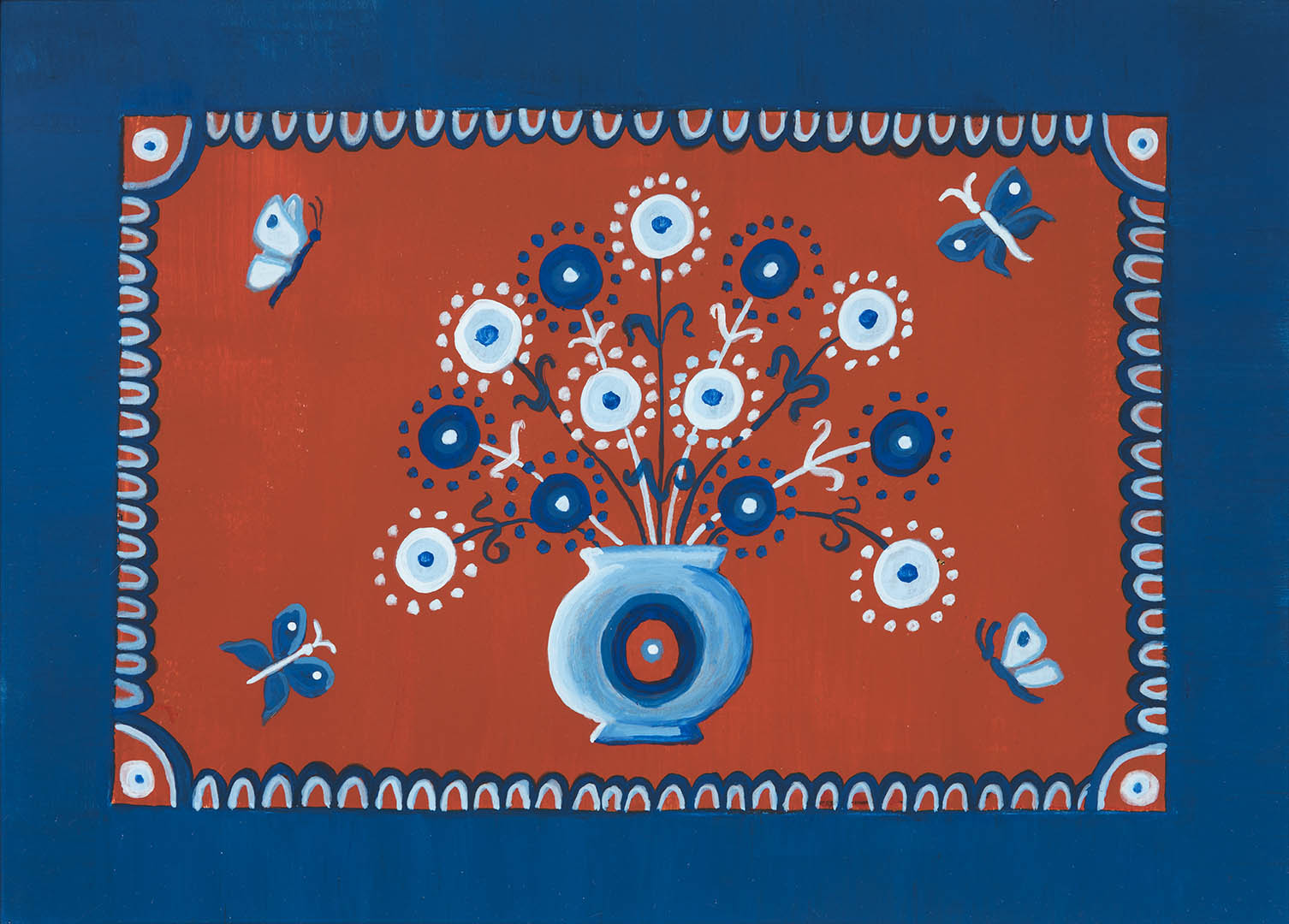 """Jurga Sadauskienė. """"Žydintys spurgeliai"""", 2020 m. Popierius, akrilas; 30 x 40,5 cm"""