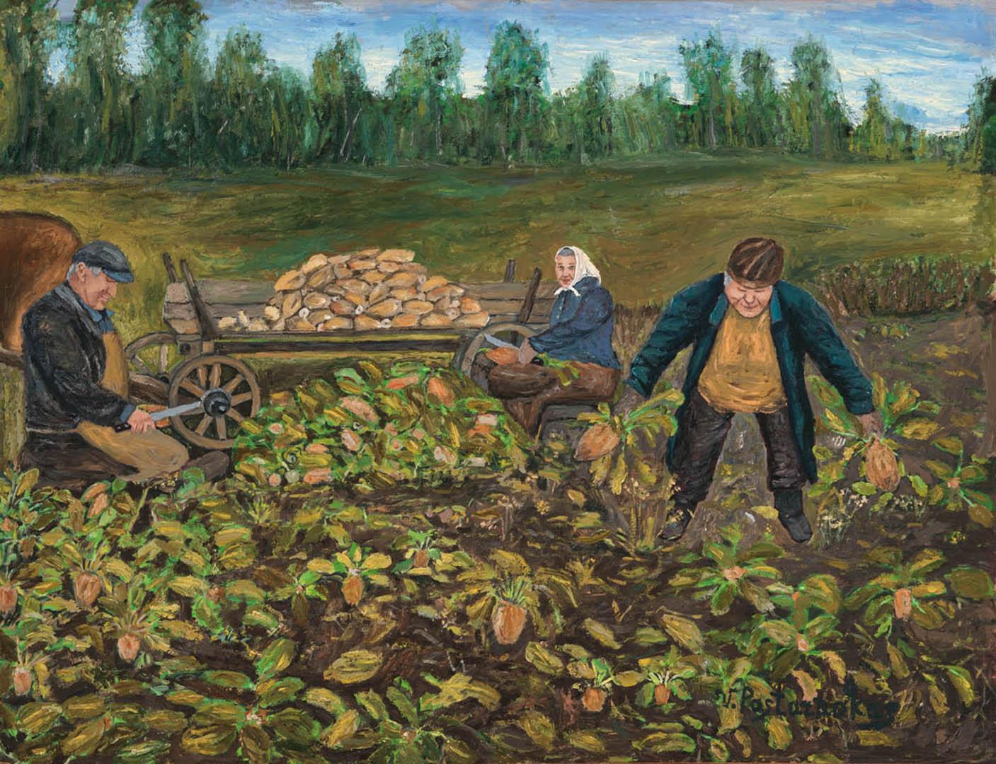 """Vytautas Pastarnokas. """"Burokų rovimas"""", 2019 m. Kartonas, aliejus; 51 x 65,5 cm"""