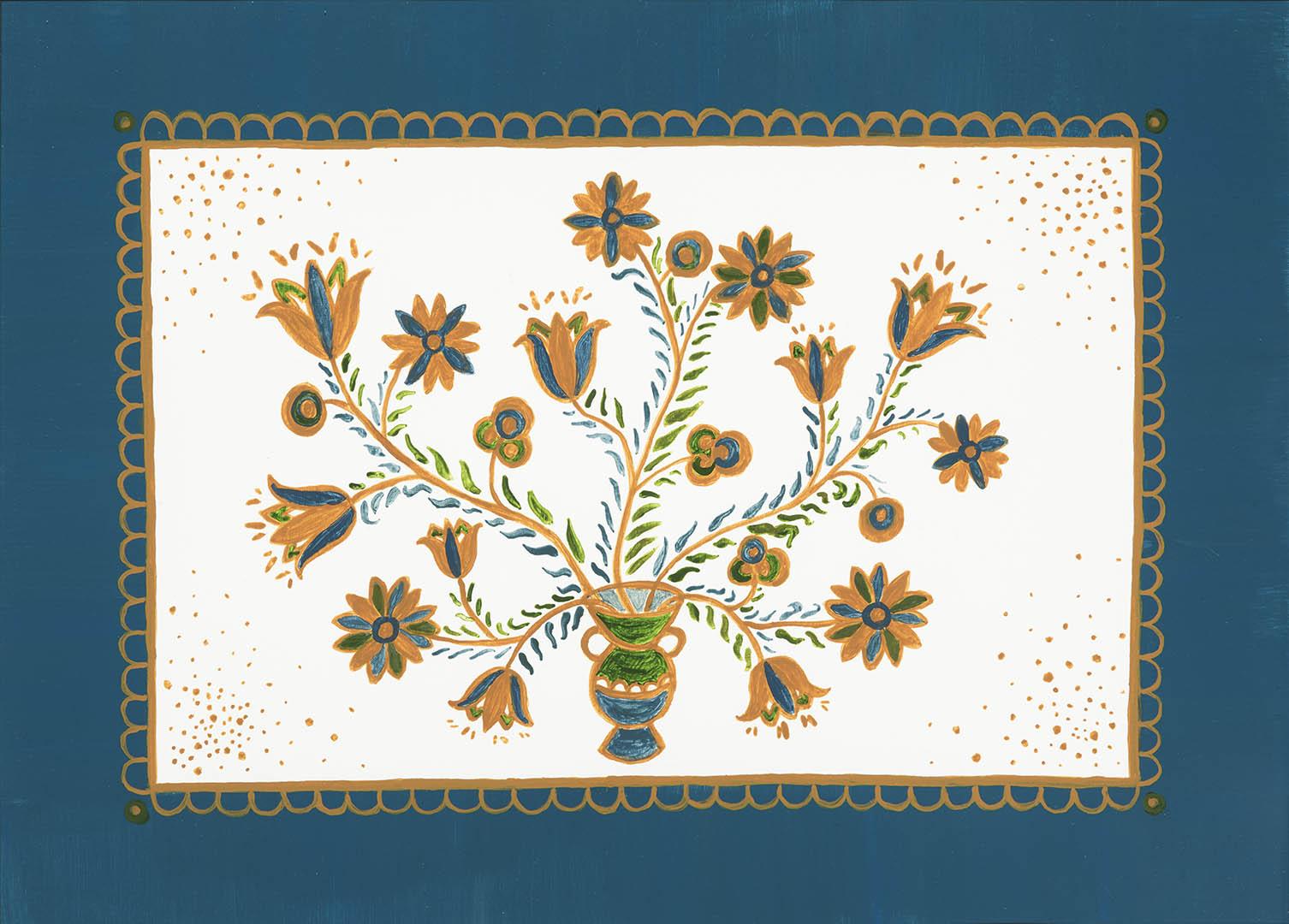 """Jurga Sadauskienė. """"Žydinti taurė"""", 2020 m. Popierius, akrilas; 30 x 40,5 cm"""