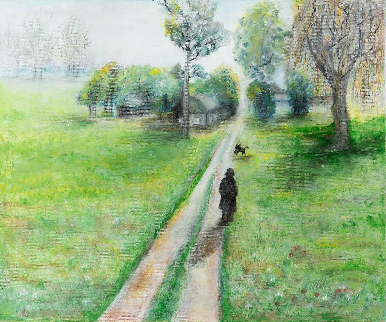 """Liucija Saveikienė. """"Kaimo takais"""", 2020 m. Drobė, akrilas; 50 x 60 cm"""