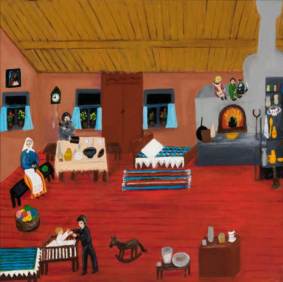 """Elena Petrauskienė. """"Kaimo gryčioj"""", 2020 m. Kartonas, aliejus; 60 x 60 cm (Antroji Monikos Bičiūnienės premija)"""