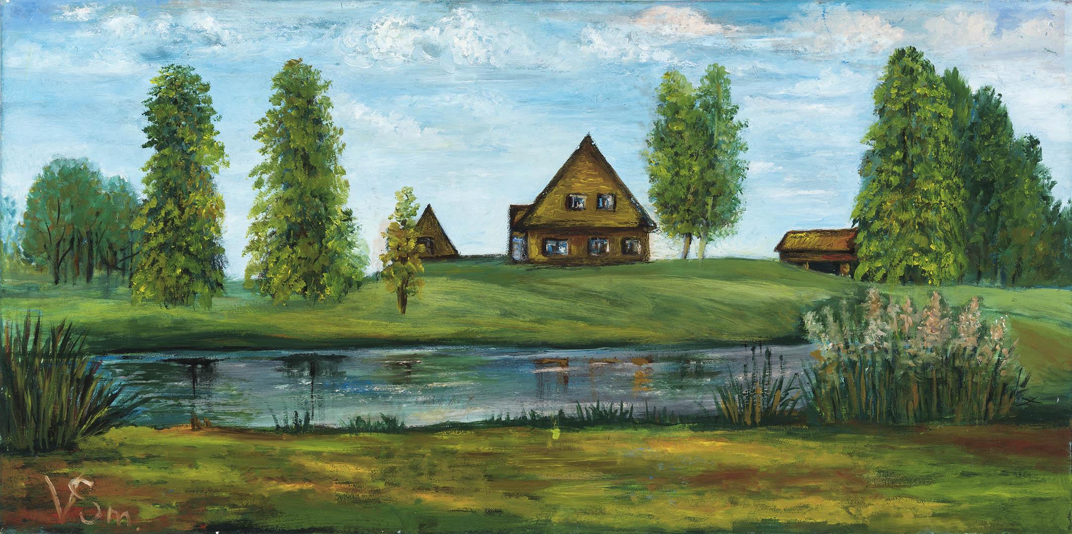 """Vera Smirnova. """"Kaimo sodyba"""", 2020 m. Drobė, aliejus; 40 x 80 cm"""