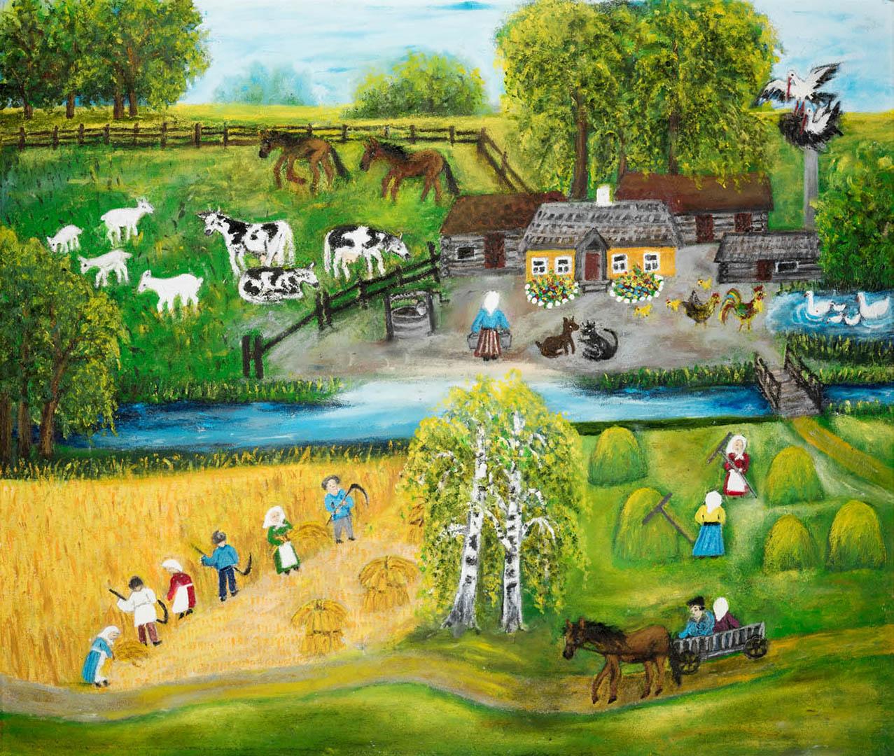 """Elena Petrauskienė. """"Lietuviškas kaimas"""", 2020 m. Kartonas, aliejus; 61 x 72 cm (Antroji Monikos Bičiūnienės premija)"""
