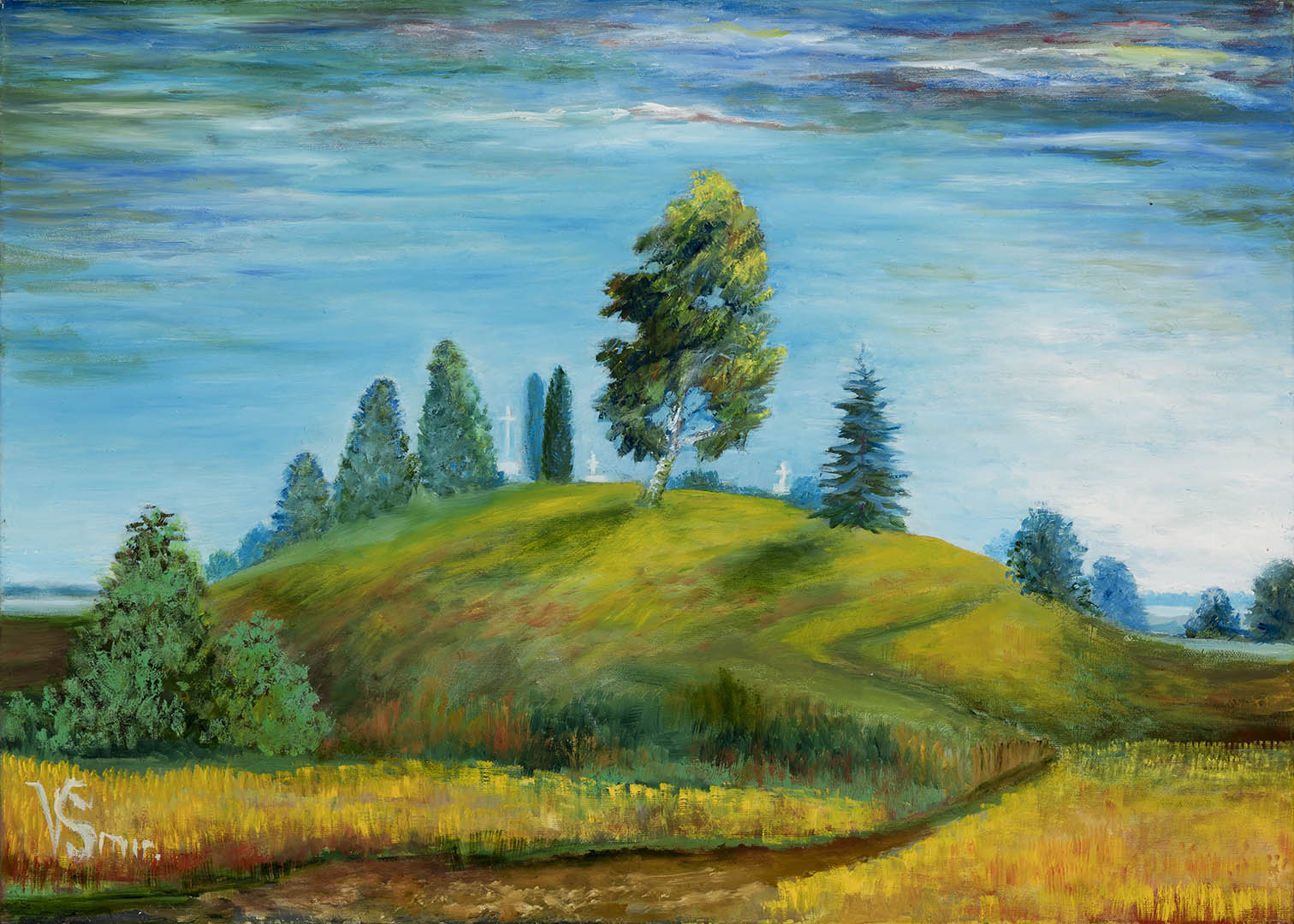 """Vera Smirnova. """"Senos kapinės"""", 2020 m. Drobė, aliejus; 50 x 70 cm"""