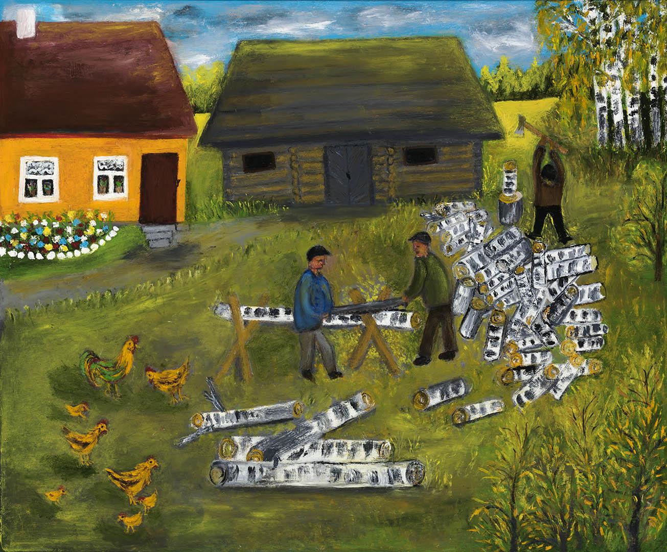 """Elena Petrauskienė. """"Ruošiamės žiemai"""", 2020 m. Kartonas, aliejus; 50 x 60 cm (Antroji Monikos Bičiūnienės premija)"""