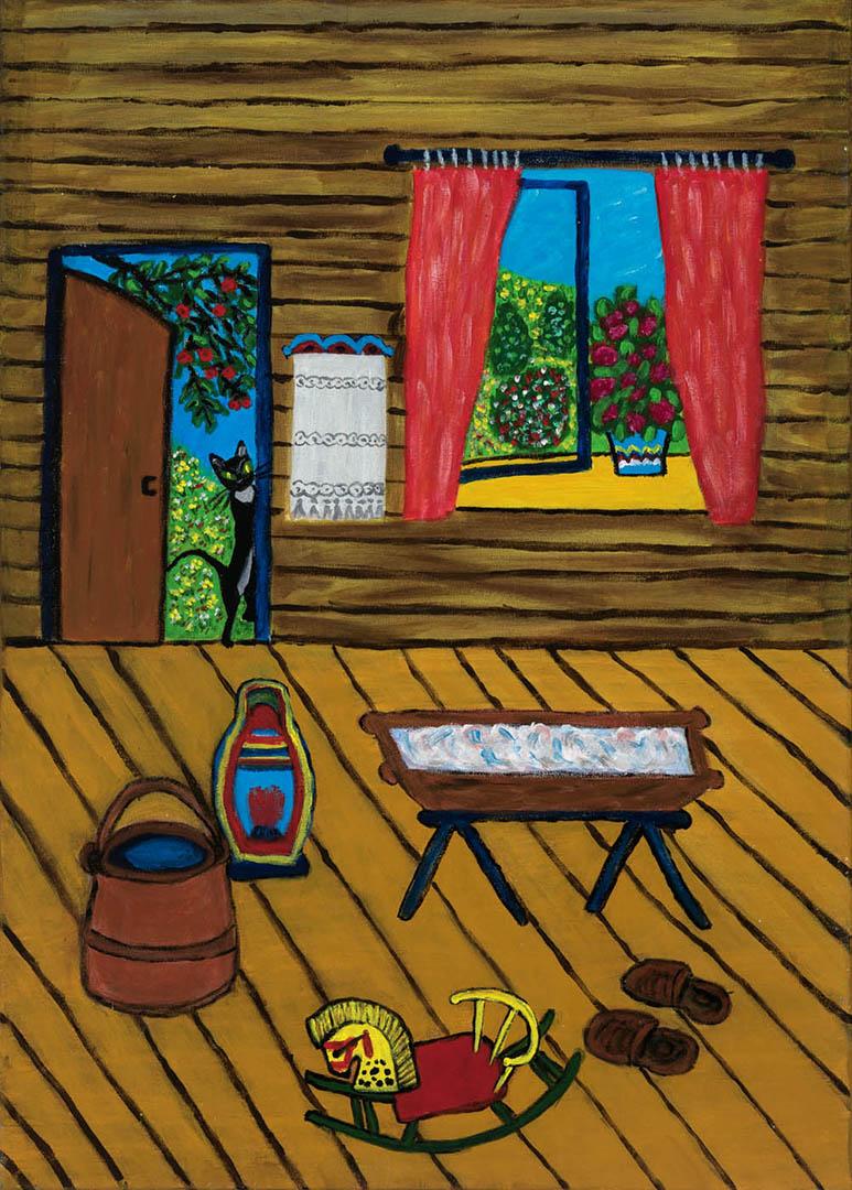 """Elvyra Butkienė. """"Iš praeities gelmių"""", 2019 m. Drobė, aliejus; 70 x 50 cm (Antroji dailininko Rimo Zigmo Bičiūno premija)"""