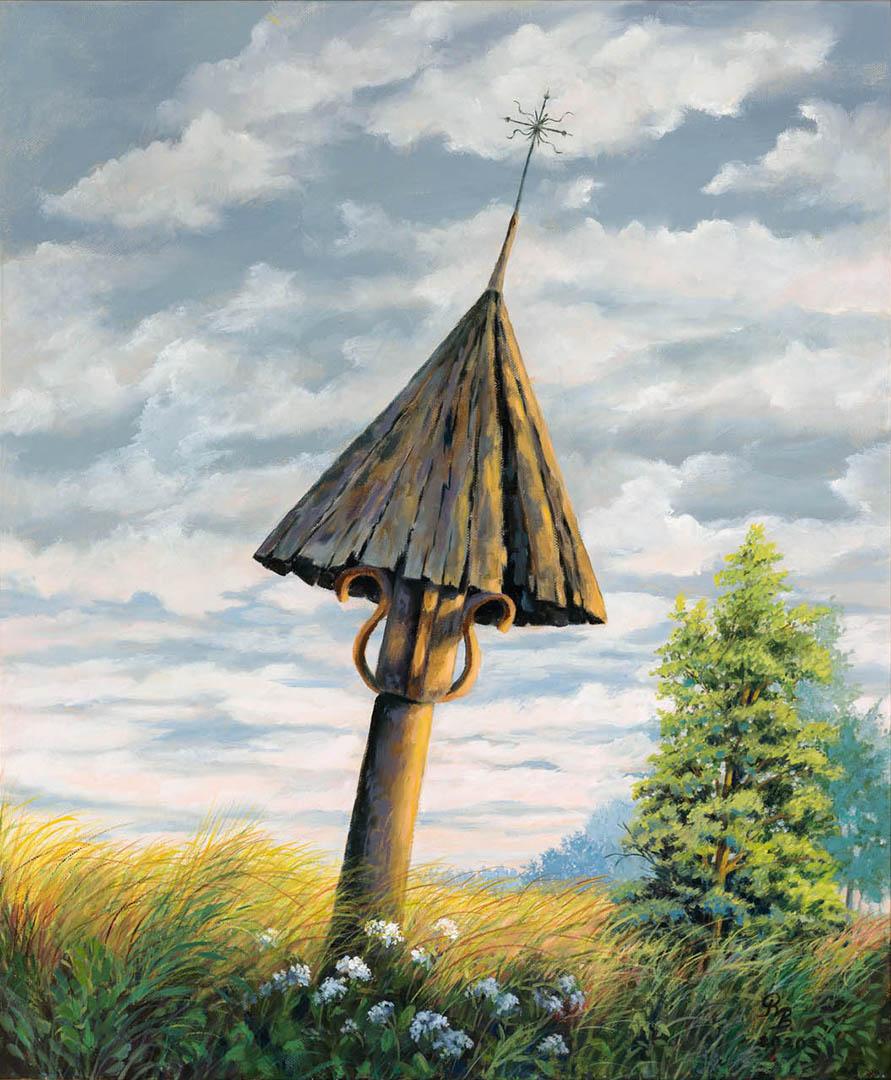 """Raimonda Bolienė. """"Senas koplytstulpis"""", 2020 m. Drobė, aliejus; 60 x 50 cm (Rėmėjų premija)"""