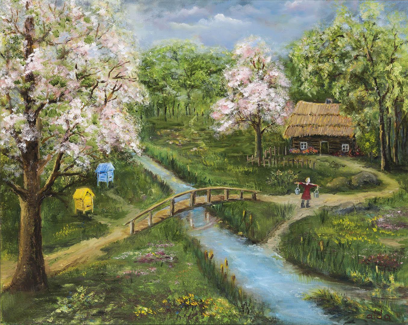 """Aldona Vasiukevičienė. """"Pavasaris tėviškėje"""", 2016 m. Drobė, aliejus; 40 x 50 cm"""