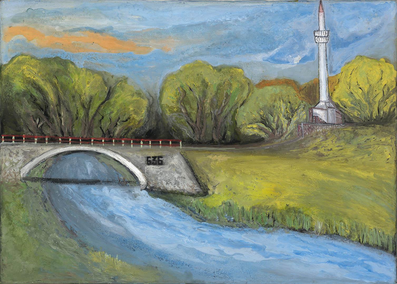 """Nijolė Sujetova. """"Kėdainių minaretas"""", 2018 m. Drobė, akrilas; 50 x 70 cm (Rėmėjų premija)"""
