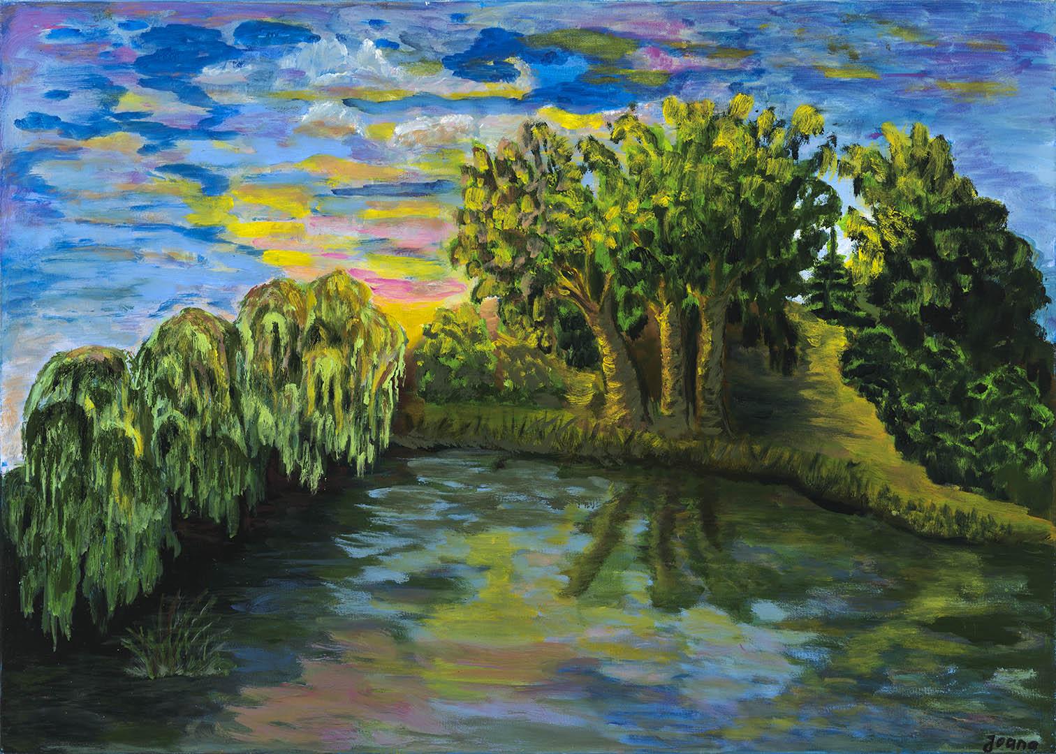 """Joana Zinkevičienė. """"Saulėtekis prie Vievio ežero"""", 2020 m. Drobė, aliejus; 50 x 70 cm (Rėmėjų premija)"""