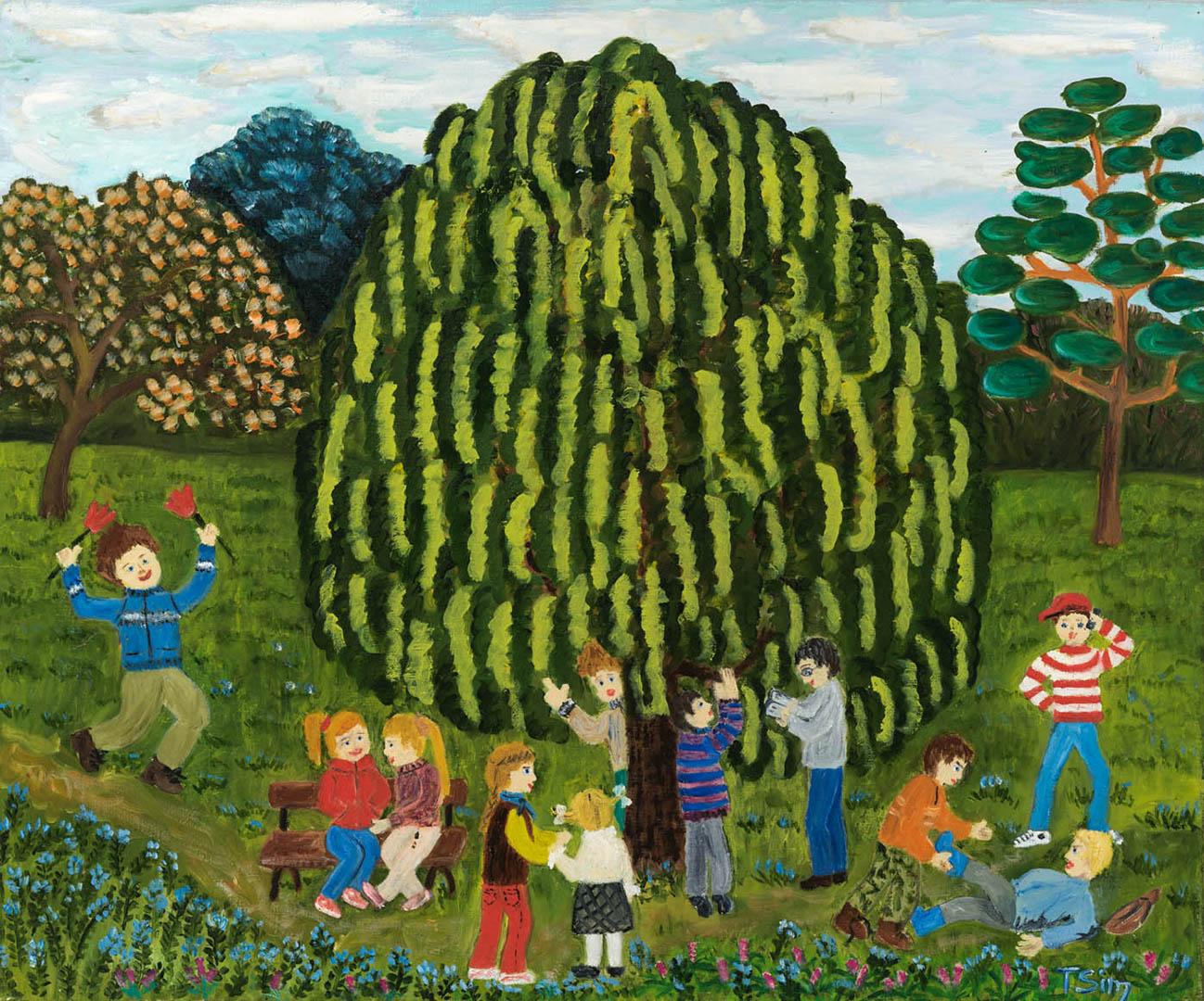 """Teresė Simanaitienė. """"Obelynėje prie pupmedžio"""" iš ciklo """"Vaikai ir medžiai"""", 2018 m. Drobė, aliejus; 50 x 60 cm"""