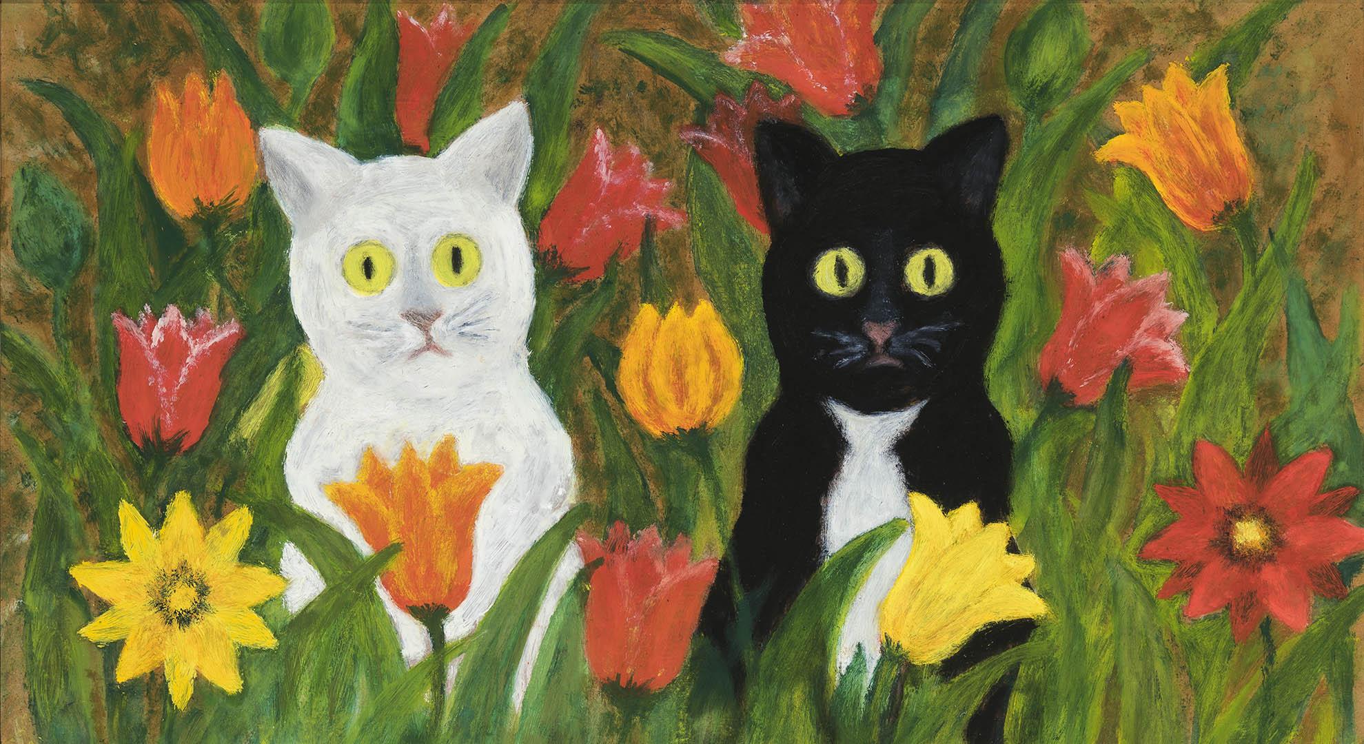 """Anelė Araminienė. """"Katinai tarp gėlių"""", 2018 m. Kartonas, aliejus; 29 x 50 cm"""