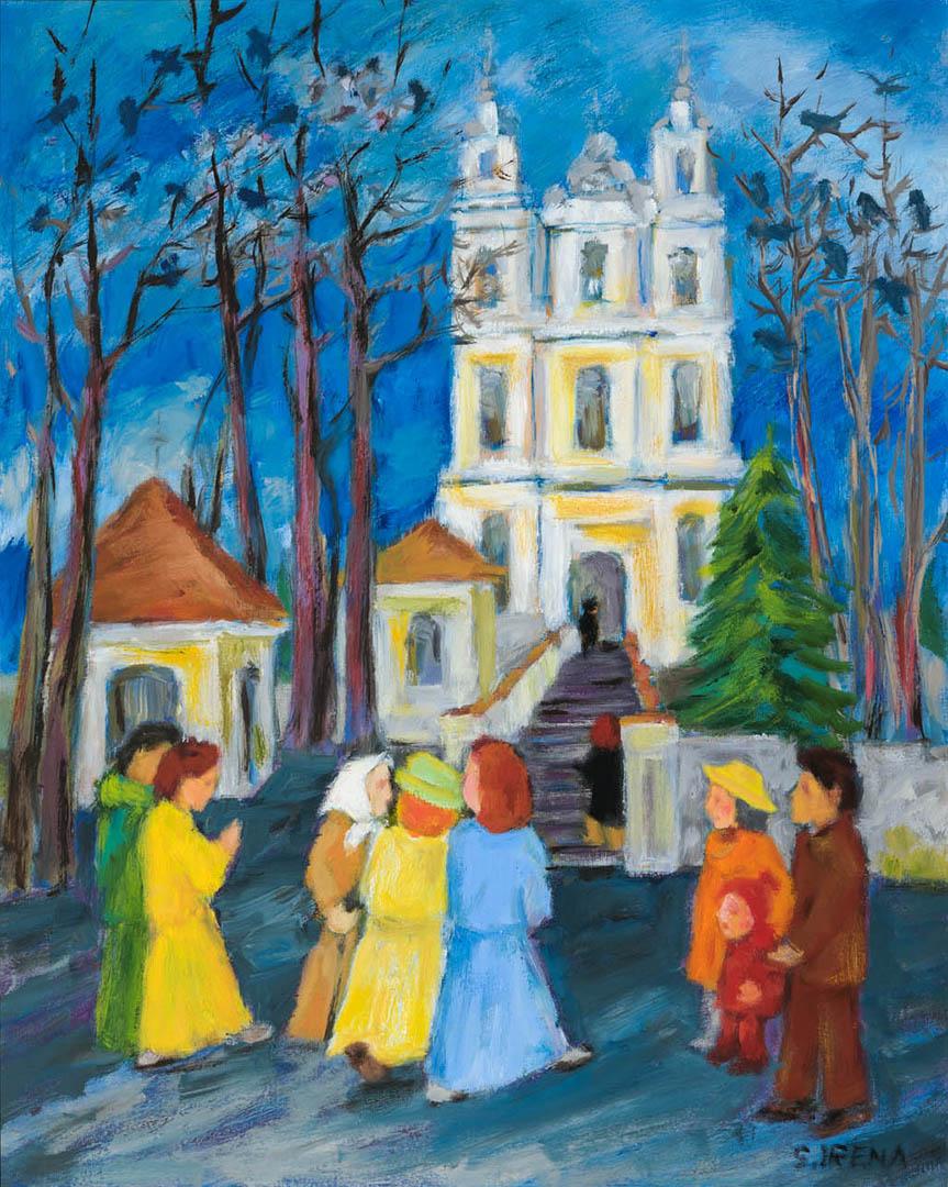 """Irena Skėraitytė. """"Prie bažnyčios"""", 2020 m. Drobė, aliejus; 50 x 40 cm"""