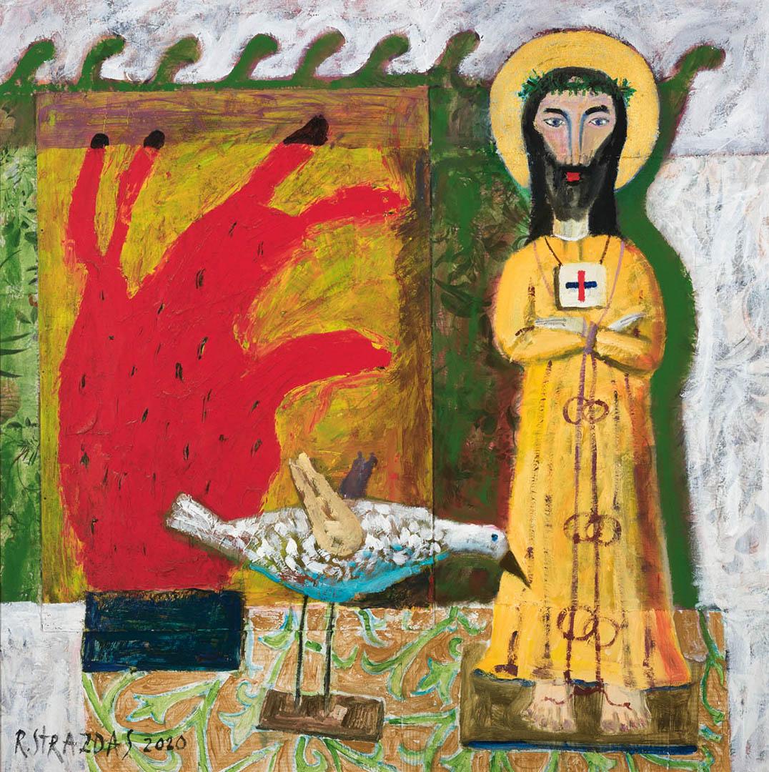 """Robertas Strazdas. """"Natiurmortas su Antakalnio Jėzaus skulptūra"""", 2020 m. Fanera, kartonas, gobelenas, aliejus, akrilas, aplikacija; 110 x 110 cm (Rėmėjų premija)"""