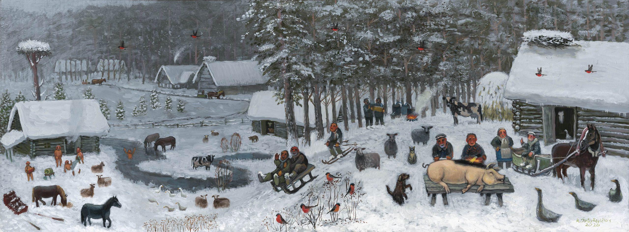 """Raimondas Šalaševičius. """"Kalėdų metas"""", 2020 m. Medžio plokštė, aliejus, akrilas; 60 x 160 cm (Pirmoji Monikos Bičiūnienės premija)"""