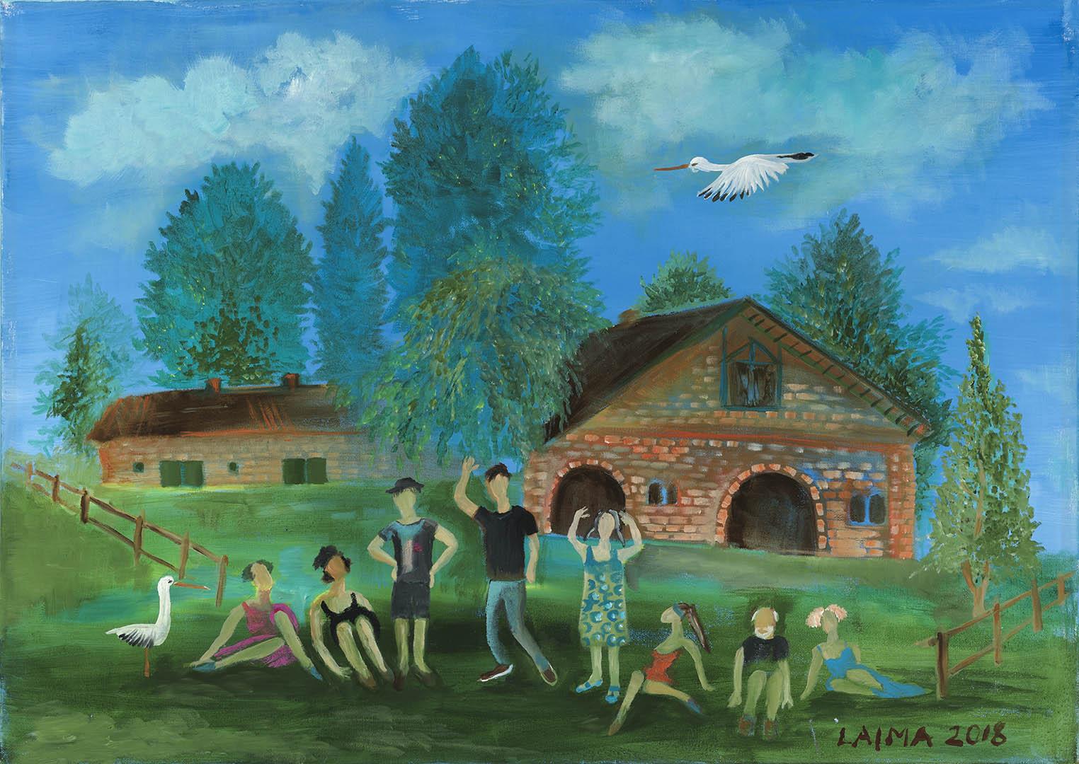 """Laimutė Širvydienė. """"Kurtuvėnų pleneras"""", 2018 m. Drobė, aliejus; 50 x 70 cm"""