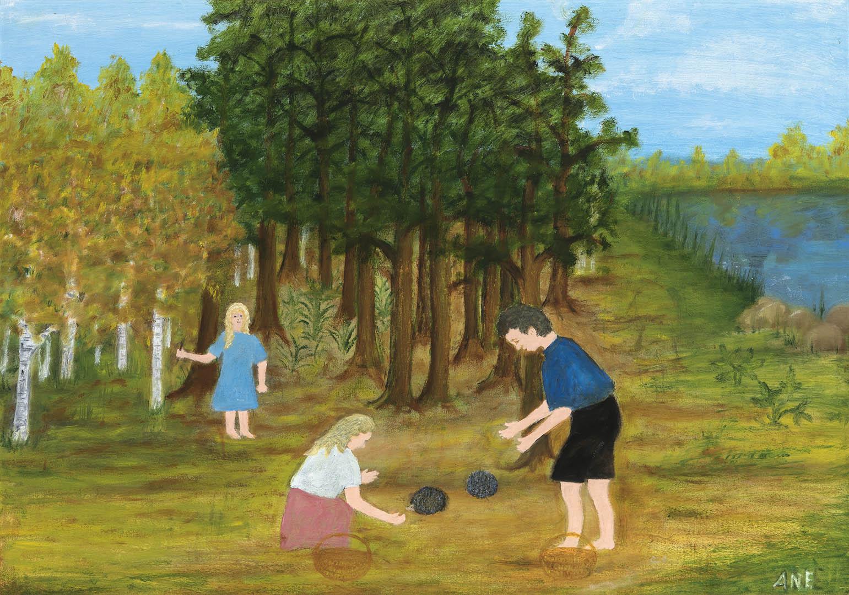 """Anelė Araminienė. """"Ėjo grybų, rado ežiukus"""", 2019 m. Drobė, aliejus; 50 x 70 cm"""