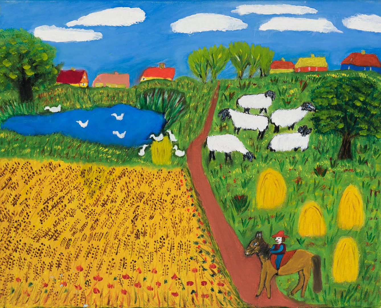 """Elvyra Butkienė. """"Kaimo motyvas"""", 2020 m. Drobė, aliejus; 40 x 50 cm (Antroji dailininko Rimo Zigmo Bičiūno premija)"""