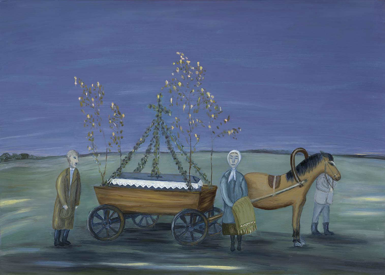 """Laimutė Vološkevičienė. """"Atsisveikinimas"""", 2020 m. Drobė, aliejus; 50 x 70 cm (Rėmėjų premija)"""