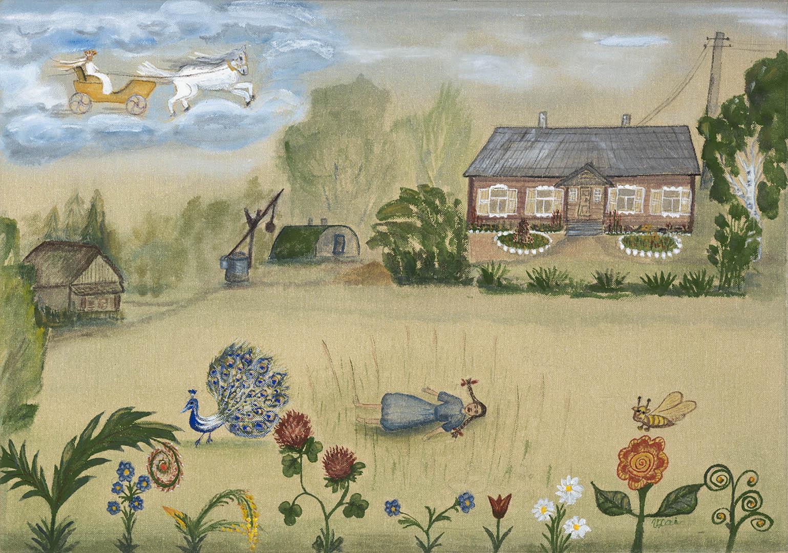 """Laimutė Vološkevičienė. """"Mergaitės svajonės kaime"""", 2020 m. Drobė, tempera; 42,5 x 60 cm (Rėmėjų premija)"""