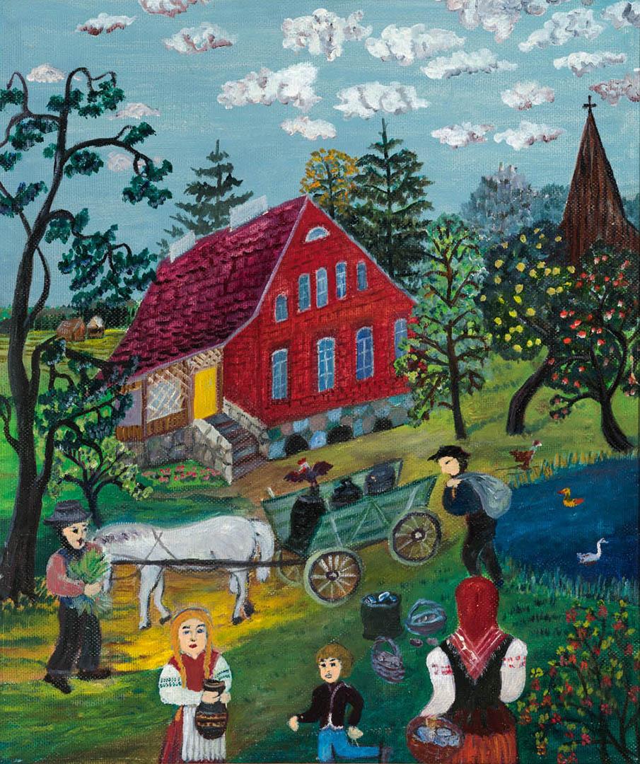 """Dalia Žalimienė. """"Darbymetis Vanaguose"""", 2018 m. Kartonas, aliejus; 60 x 51 cm (Pirmoji dailininko Rimo Zigmo Bičiūno premija)"""
