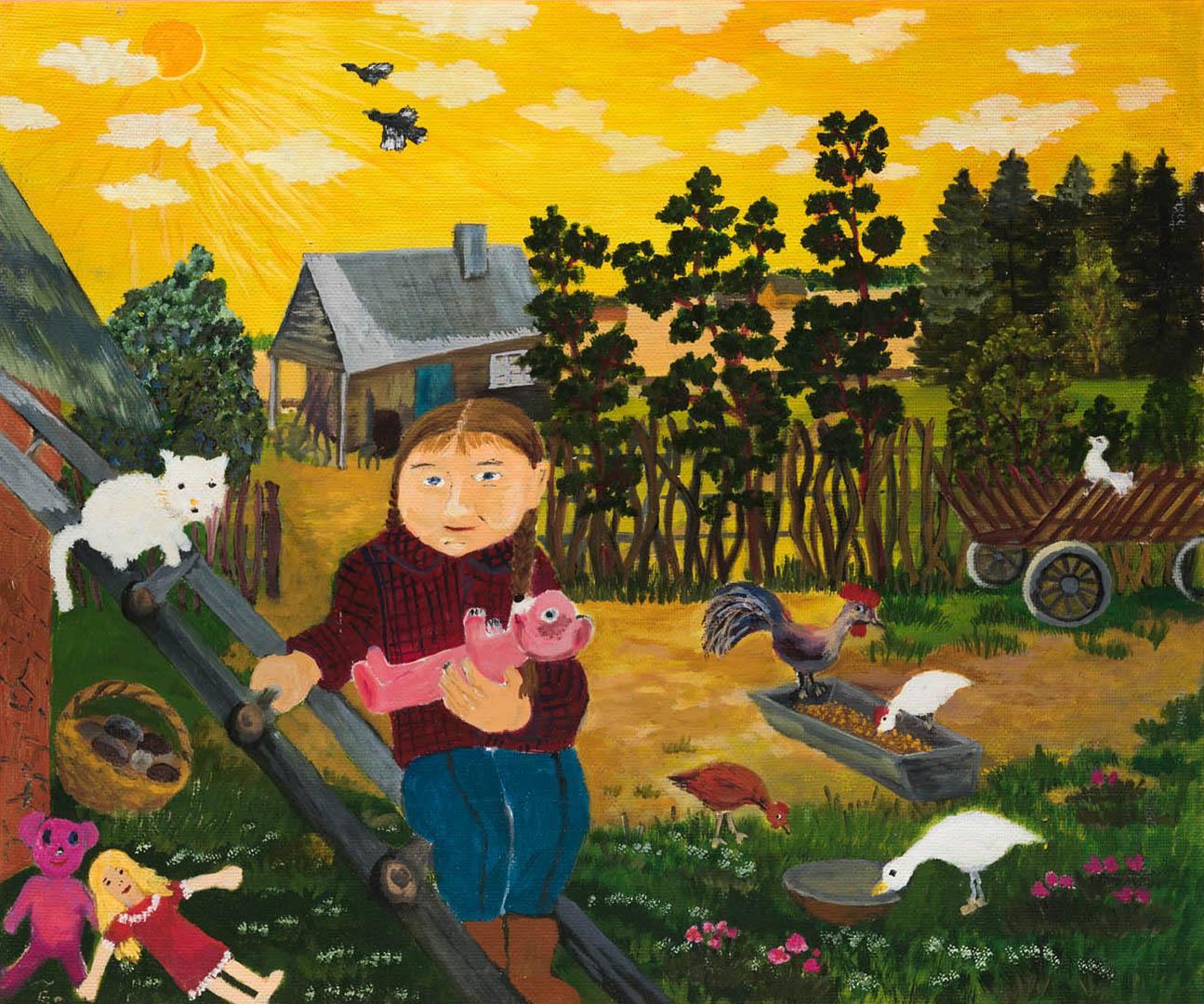 """Dalia Žalimienė. """"Mano vaikystė"""", 2019 m. Drobė, aliejus; 50 x 60 cm (Pirmoji dailininko Rimo Zigmo Bičiūno premija)"""