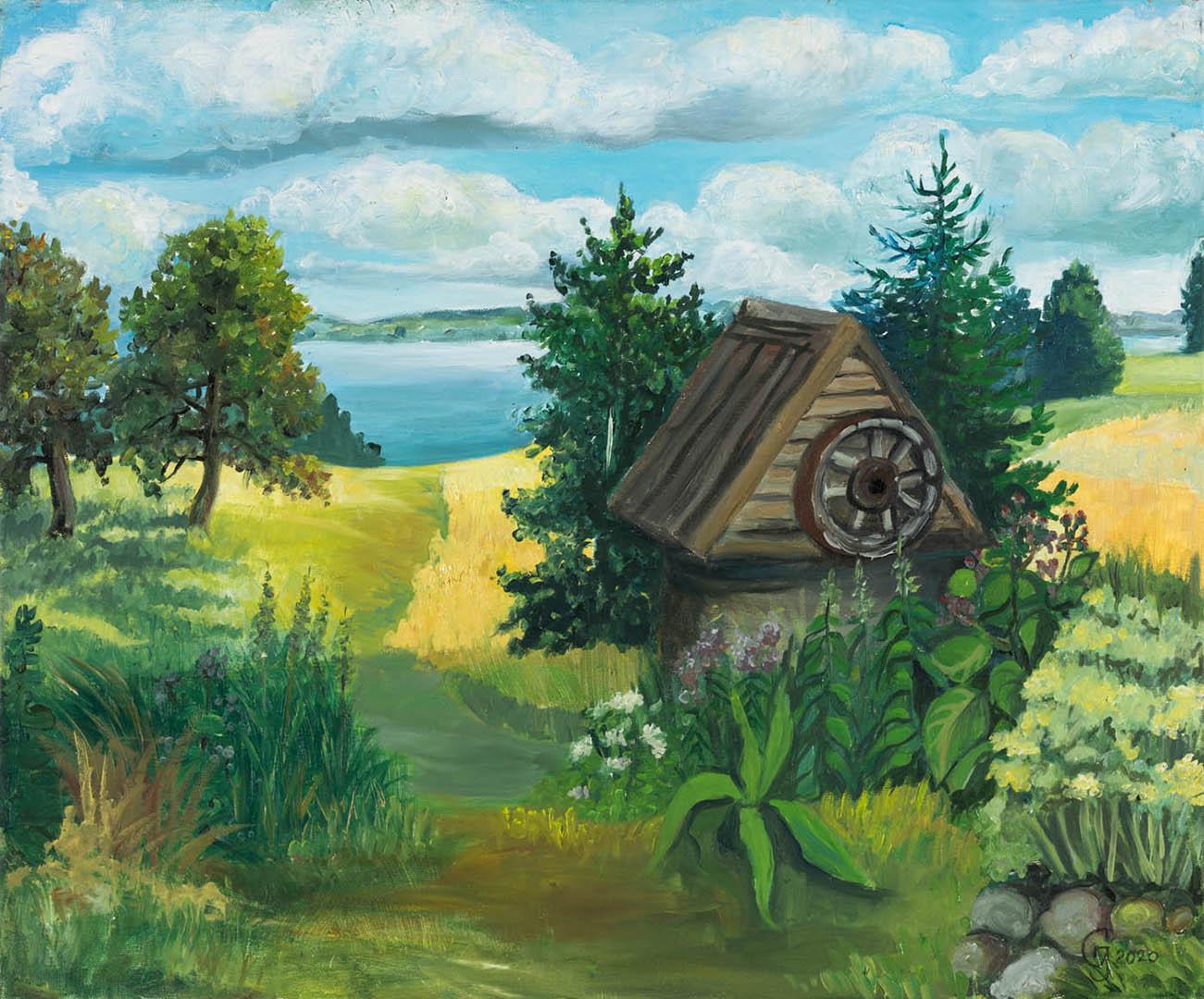 "Jadvyga Gotovskaja. ""Rugpjūtis"", 2020 m. Drobė, aliejus; 50 x 60 cm"
