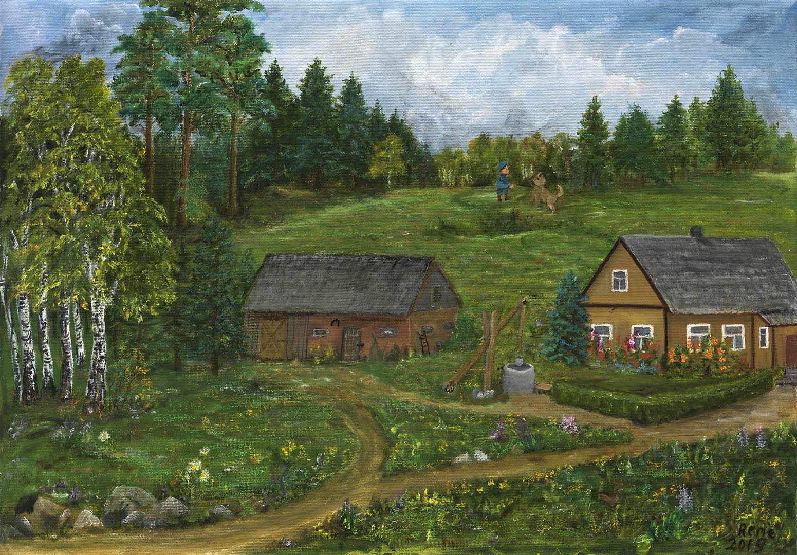 """Renė Bičiūnaitė-Sriubiškienė. """"Būk geras, einam namo, nes nuo mamos gausime pipirų"""", 2019 m. Drobė, aliejus; 59,5 x 84,5 cm"""