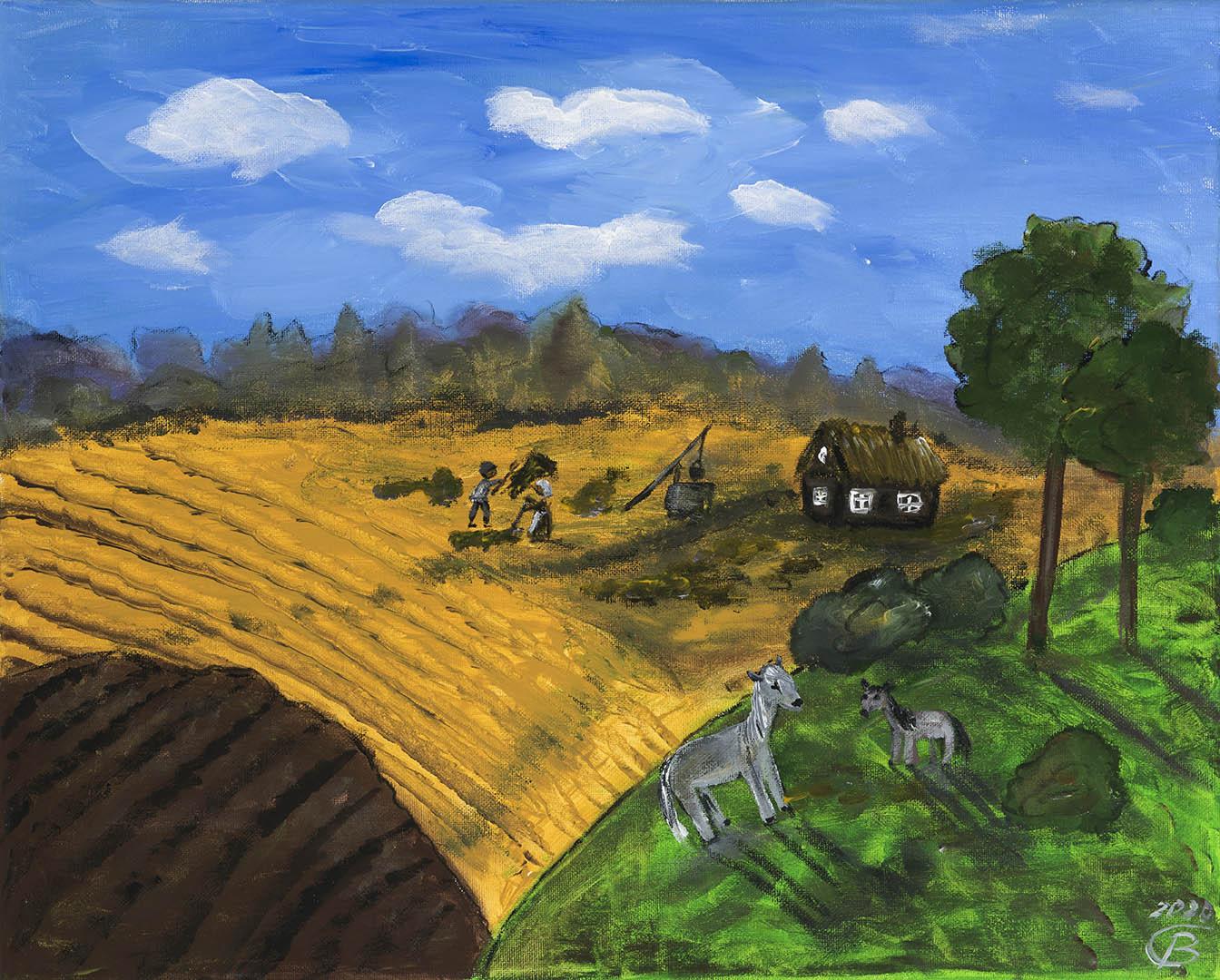 """Birutė Dapkienė. """"Rugsėjis kaime"""", 2020 m. Drobė, akrilas; 40 x 50 cm"""