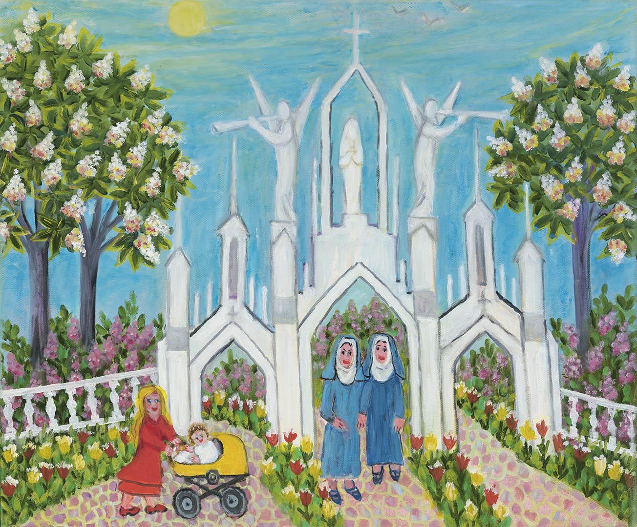 """Regina Juodžbalienė. """"Gustonių bažnyčios vartai"""", 2018 m. Drobė, aliejus; 50 x 60 cm"""