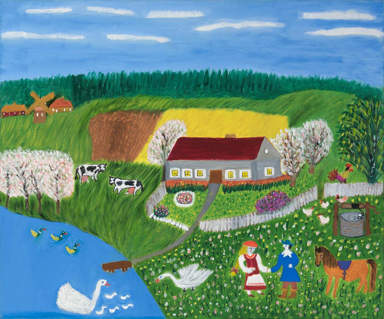 """Elvyra Butkienė. """"Piršlybos"""", 2019 m. Drobė, aliejus; 50 x 60 cm (Antroji dailininko Rimo Zigmo Bičiūno premija)"""