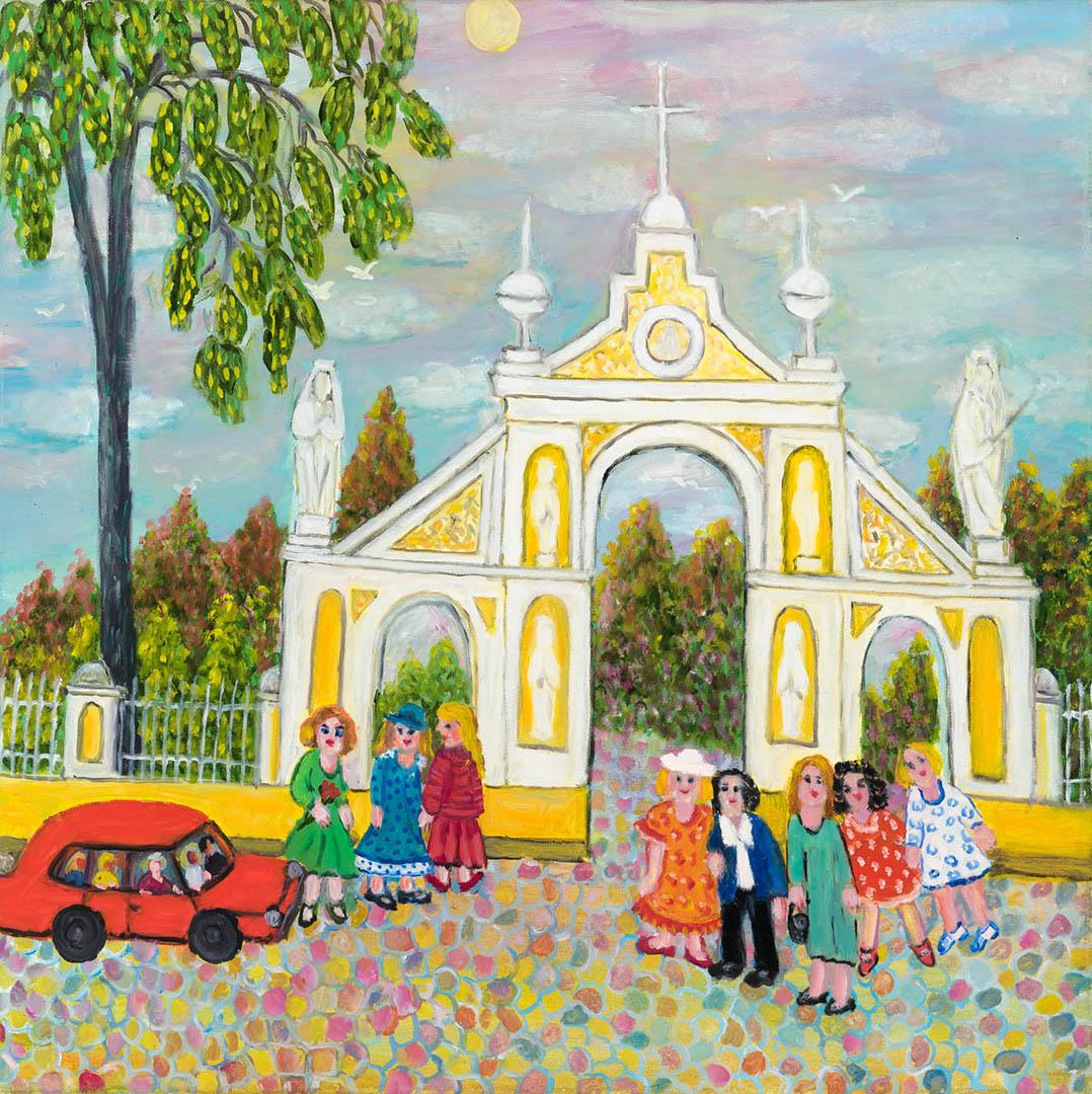 """Regina Juodžbalienė. """"Kudirkos Naumiesčio bažnyčios vartai"""", 2018 m. Drobė, aliejus; 60 x 60 cm"""