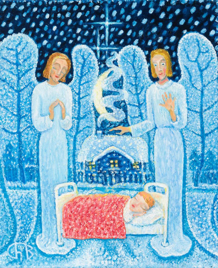 """Borisas Chudinskij. """"Angelų globoj"""", 2020 m. Drobė, aliejus; 48 x 46 cm"""